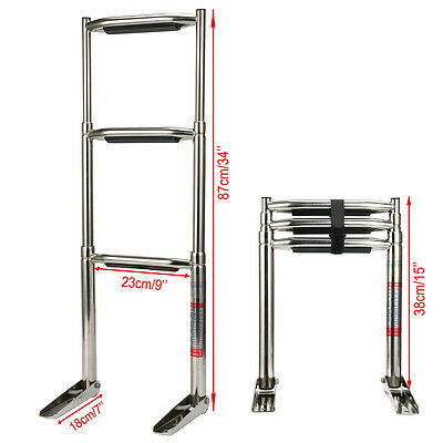 PERFECT!!! 3 Steps Stainless Steel Telescoping Boat Platform Ladder-AM