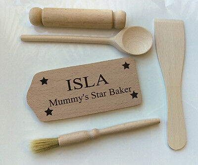 Personalised Wooden Kids Five Piece  Baking Set Kit Childrens Engraved Cooking