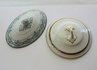 Two Antique Tureen Vegetable Casserole Dish Lids Display