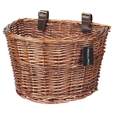 Pedalpro Front Wicker Bicycle Shopping Basket Leather Look Straps/Cycle/Bike