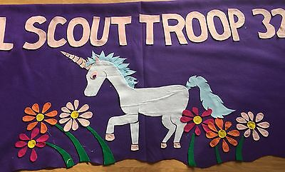 Scout Troop banner 3'X6' parade custom  felt-unicorn and flowers