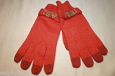 NEW! BCBGeneration Pretty in Papaya Red Knit Gold TE AMO Texting Gloves $48