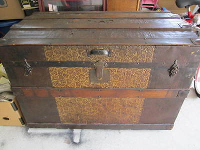 Antique/vintage Clinton Wall Trunk Wooden Chest Wood Metal Steamer
