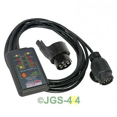 Towing Socket Tester 13 & 7 Pin MOT Tow Bar Test VOSA Approved - SEALEY TST22