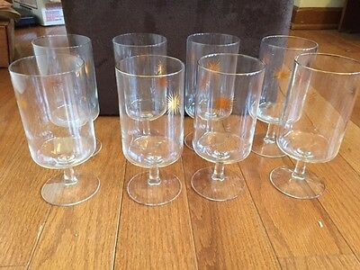 Vintage Set of 8 Starburst Stem Glasses Retro