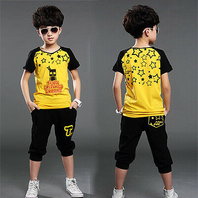2-Piece Boys Kids Casual Summer Cotton Children Clothing outfits Top+Pants 5-8Y