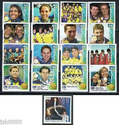 Australia 2000 Olympic Gold Medalists + Cathy Freeman Set of 17 stamps MNH