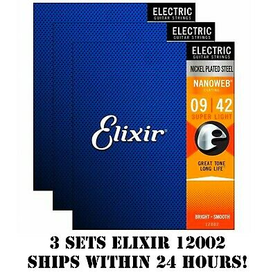 *3 Sets Elixir Nanoweb 12002 Nickel Plated Electric Guitar Strings Light -9-42*