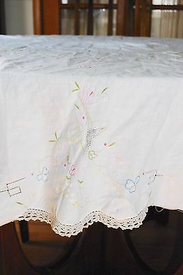 "Vintage Hand Embroidered & Crocheted Inserts Cotton Tablecloth - 64"" Round"