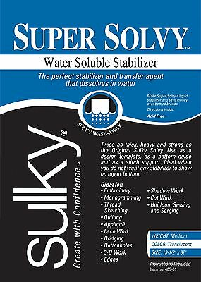 Sulky Super Solvy 19-1/2 by 36-Inch Water Soluble Fabric Stabilizer Medium