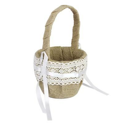 Rustic Burlap Lace Wedding Ceremony Party Flower Girl Basket Ribbon Bowknot