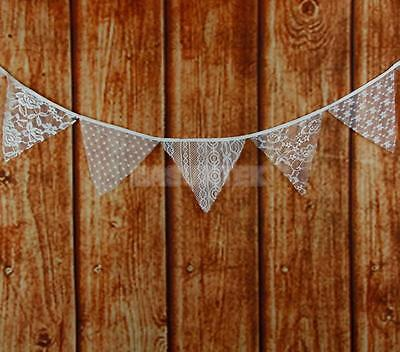 3M Vintage Hessian Lace Bunting Banner White Flags Wedding Party Photo Prop