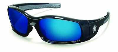 MCR Safety SR118B Swagger Safety Glasses, Black Frame with Blue Mirror Lens