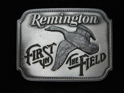 Pc11128 *nos* Vintage 1980 **remington First In The Field** Gun Firearm Buckle