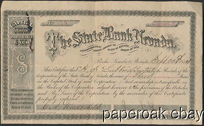 1874 The State Bank Of Nevada Stock Certificate