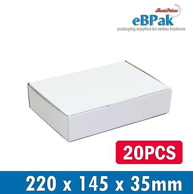 20 220x145x35mm * Diecut White Mailing Box DVD CD MAILER * Video DVD CD BX6 Size