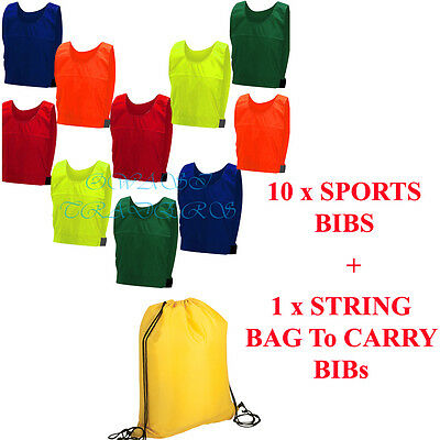 10 FOOTBALL TRAINING SPORTS BIBS Kids Adult Sizes with Bags
