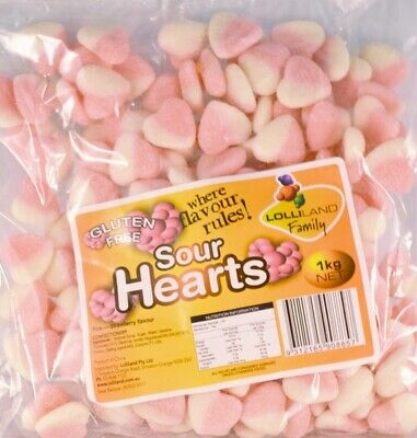 Pink Strawberry Flavour Sour Hearts (1kg)