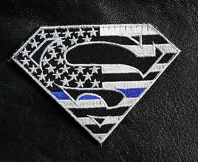 Superman  Usa Flag  Thin Blue Line Police Tactical Combat Hook Loop Patch