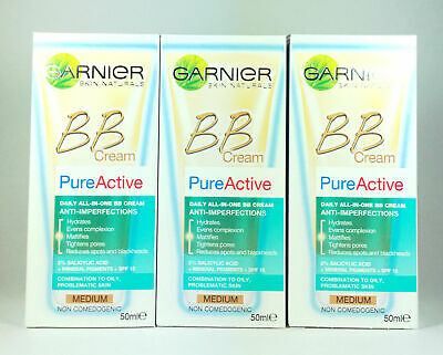Garnier BB Cream Pure Active Daily All-in-One Anti Imperfection MEDIUM 50mL x3