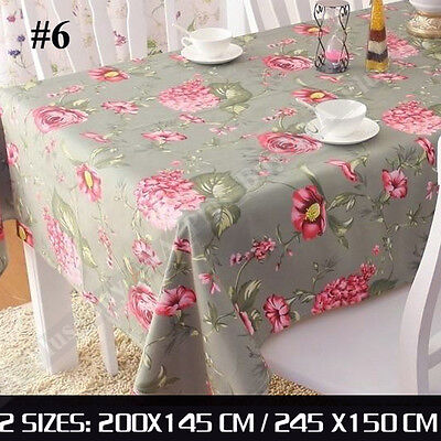 Large Designer Flower Tablecloth Table Cloth 100% Cotton Green Pink 200x145cm