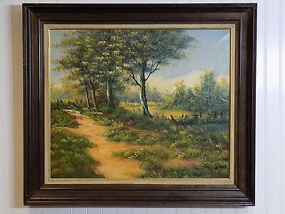 Older Framed Original Signed Alexander Roos Country Path Oil on Canvas Painting