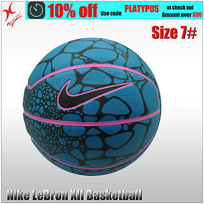 Nike Basketball - Lebron James Xii Playground - Size 7 Ball - Black / Blue
