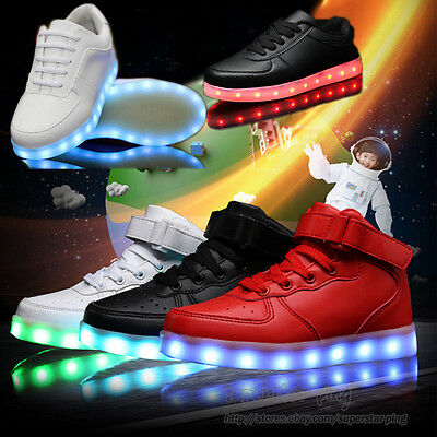 Kids Boys Girls High Top USB 7 Color LED Light Up Shoes Casual Luminous Sneakers
