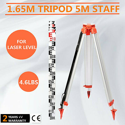 Tripod +5M Staff For Rotary Laser Level 5 Section Dumpy Aluminum Tripod 165Cm
