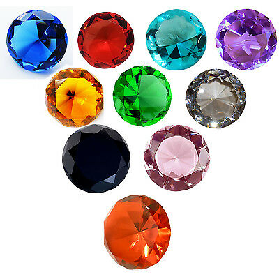 Crystal Diamond Shape Colour Paperweights Glass Gem Gift Home Display Ornament