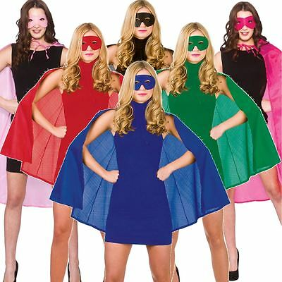 Adult Short Superhero Fancy Dress Halloween Costume Cape And Eye Mask 4 Colours
