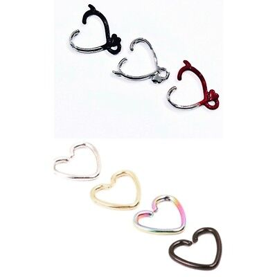 Surgical Steel Heart Ring Helix Cartilage Tragus Diath Piercing Hoop - 2 Styles