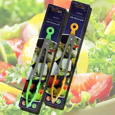 Stainless Steel & Silicone Food Tongs Kitchen Bbq Cooking Food Salad Servers