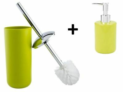 Green Bathroom Toilet Brush Set Home Wc Cleaning Plus Soap Dispenser