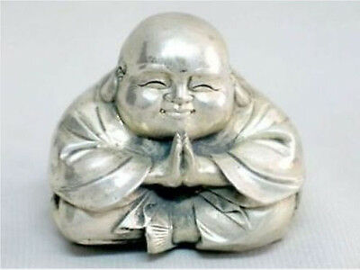 Old Tibet Silver Sitting Small Laughing Buddha Statue