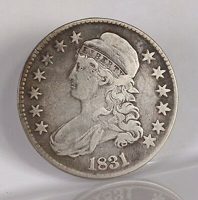 Raw 1831 Capped Bust 50C Ungraded Uncertified Circ Early US Silver Half Dollar