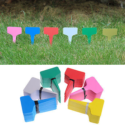 100pcs T-type Plastic Plant Flower Tags Markers Nursery Garden Labels Stick Sign