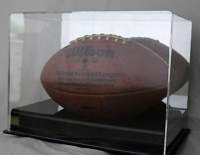 Premium Full Size Football Display Case with Mirrror Back & Black Acrylic Riser