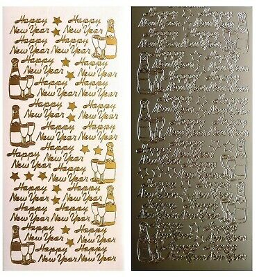 HAPPY NEW YEAR Peel Off Stickers Champagne Bottle Card Making - Star Gold Silver