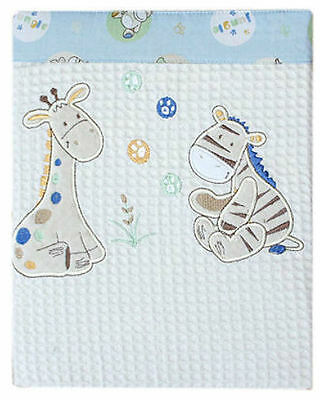 New Bubba Blue Jungle Jungle Embroidered Cot Size Waffle Blanket ~ Baby Linen ~