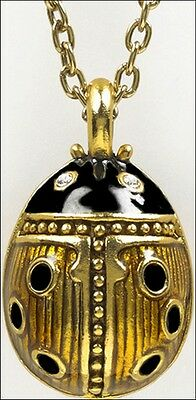 "Faberge Inspired Ladybug Egg Pendant Gold & Black Enamel 3/4"" x 1/2"" 18"" Chain"