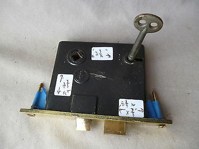 Mortise Door Bolt Lock w/key PENN Lock Brass Face 5 3/8 x 7/8""""