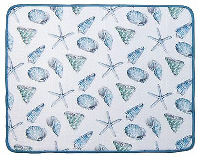 Kay Dee Designs Shells Microfiber Dish Glass Drying Mat 16x20 Fast Dry Absorbent