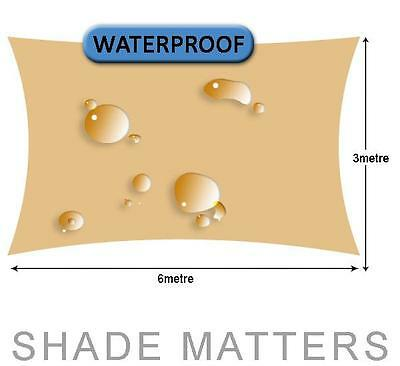 New Waterproof Shade Sail- Rectangle 3m x 6m Sand Color