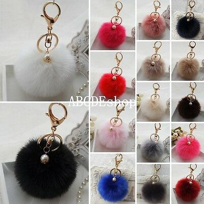 New Soft Rabbit Fluffy Fur Pearl Ball Pom Phone Pendant Handbag Key Chain Ring