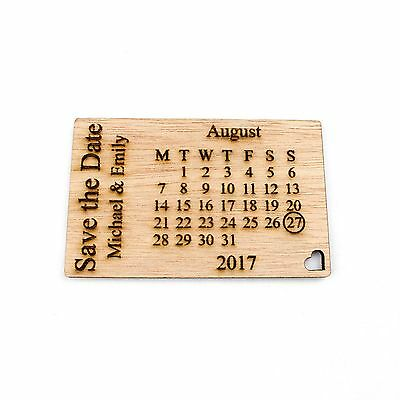 Personalised Wooden Save the Date Fridge Magnets. Wedding Invitations Calendar