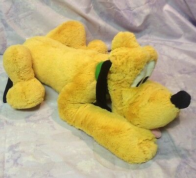 Pluto Stuffed Animal 16 inches Disney Store Green Collar Plush Lays Down