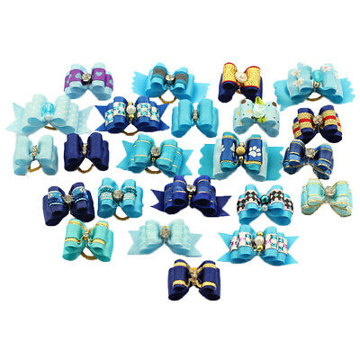 Hot Blue Rhinestone CutePet Dog Hair Bows Rubber BandsGrooming topknot product