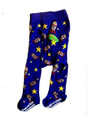 Out Of This World Leggings Space Rockets Pants Organic Cotton Cute Blue Baby Kid