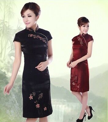 Chinese Women's Handmade Embroidery Mini Dress Cheongsam Size S M L XL XXL